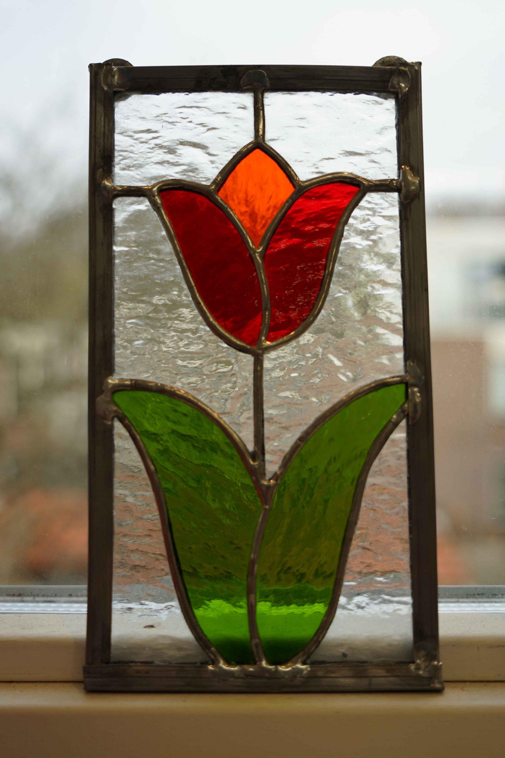 glas in lood bloem